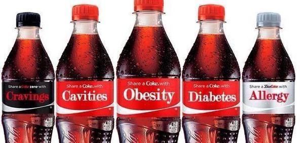 Фото: надписи на этикетках: «Аппетит»,  «Кариес»,  «Ожирение»,  «Диабет»,  «Аллергия»